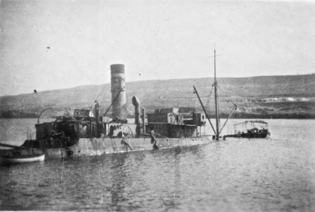 Wreck in Derna Harbour, Libya, 1941