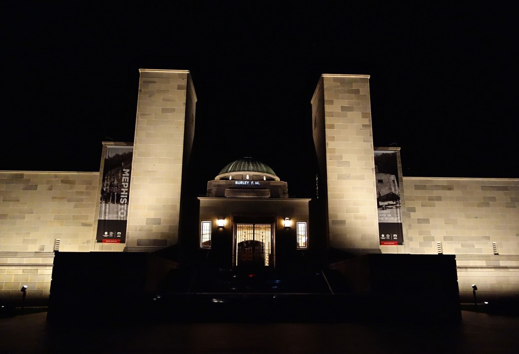 Frederick Miles Burley, name projected onto the Australian War Memorial, 8th September 2015